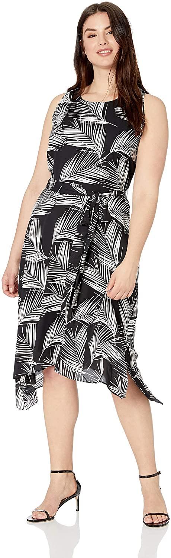 Karen Kane Womens Plus Size Handkerchief Hem Dress