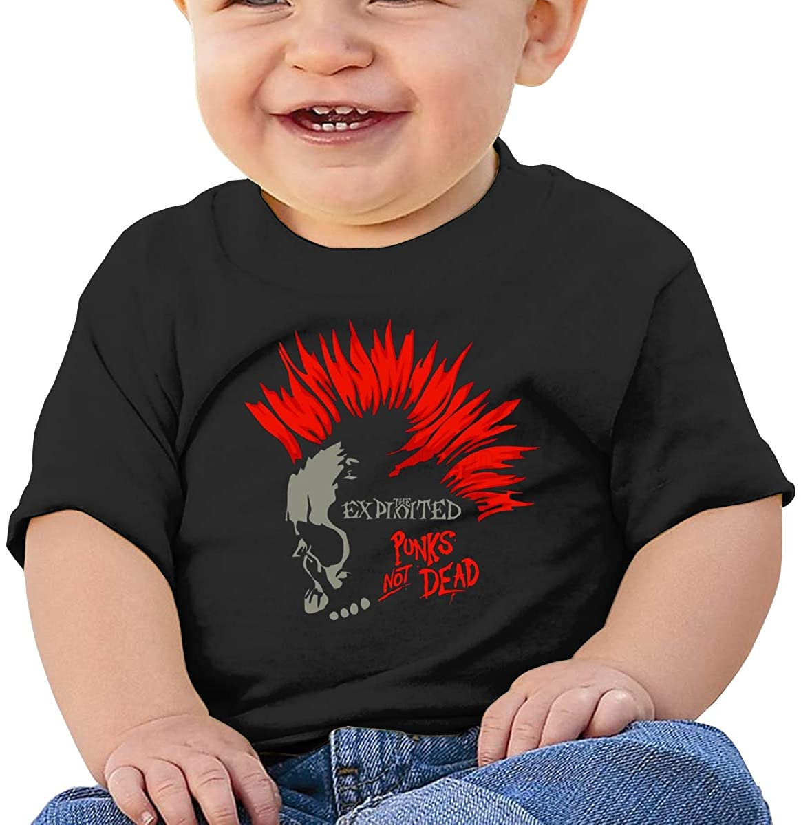 6-24 Months Boy and Girl Baby Short Sleeve T-Shirt The Exploited Original Minimalist Style Black