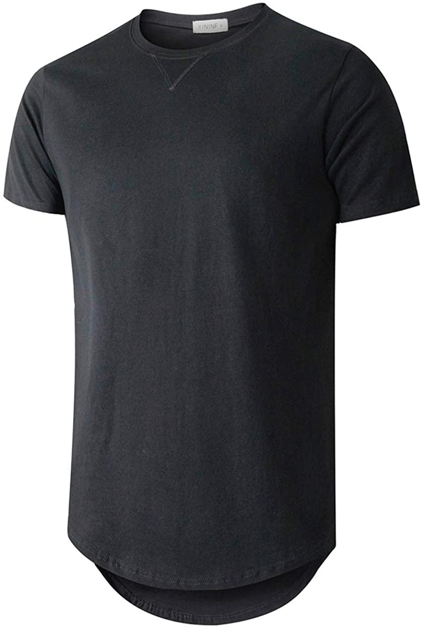 YININF Men's Fashion Hip Hop Longline 100% Cotton Round Neck V Design T-Shirt…