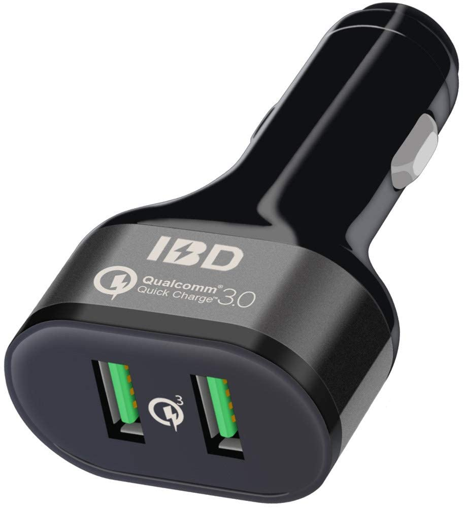 IBD307-Q3 Car Charger, Quick Charge 3.0 36W, Dual USB Car Charger Adapter Compatible with iPhone 11/XR/X/8 Plus/7 Plus/6s, Galaxy S10/S9/S8, Note 9, LG, Huawei, and More