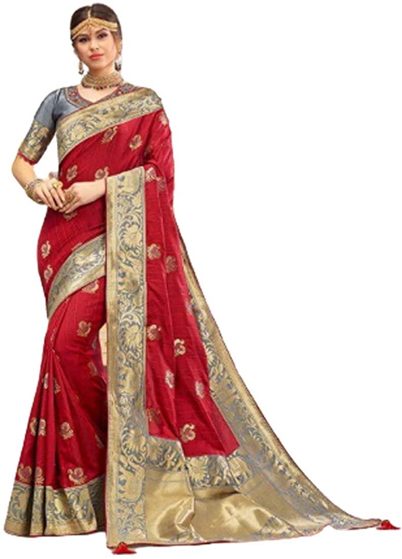 Wedding Party Special Red Traditional Soft Silk Saree Sari Blouse Muslim Women Indian Dress 9815B