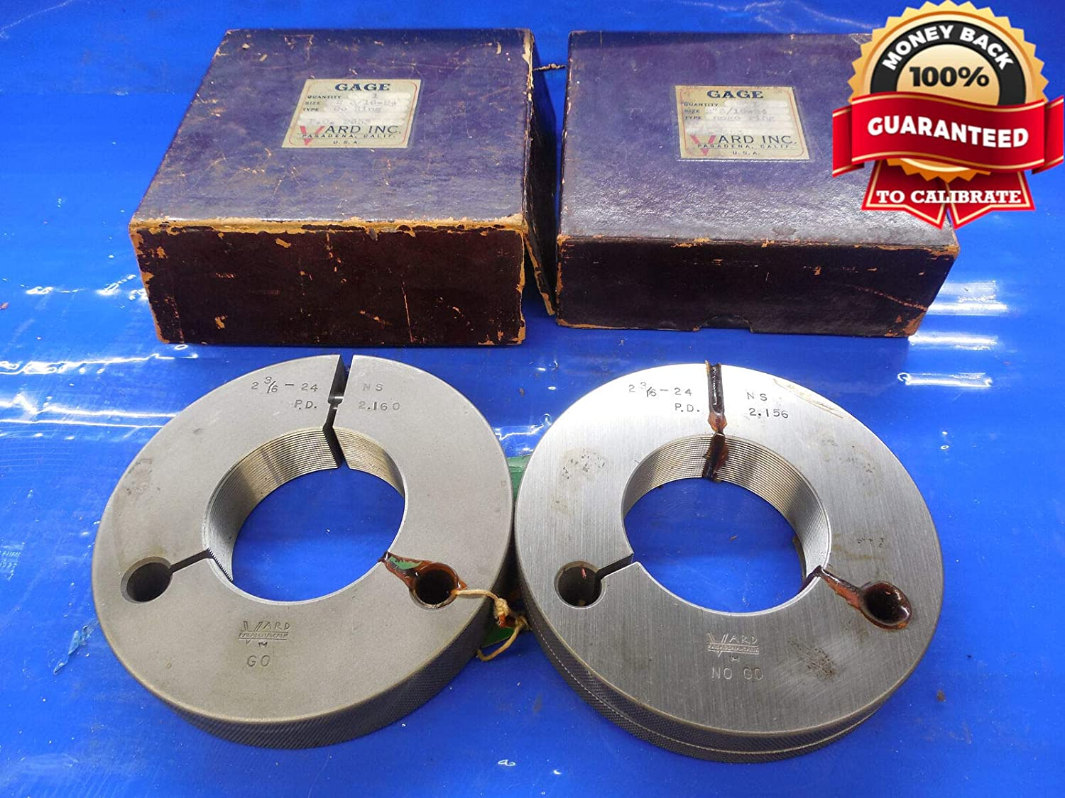 New 2 3/16 24 NS Thread Ring GAGES 2.1875 GO NO GO P.D.'S = 2.1600 & 2.1560