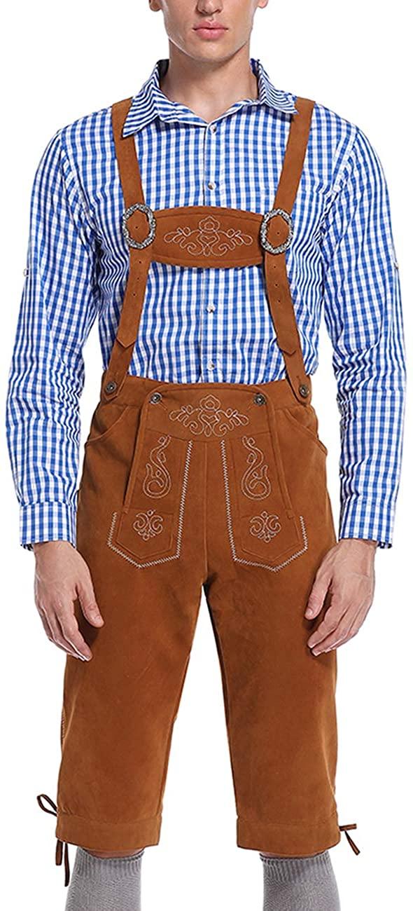 GloryStar Lederhosen Men German Bavarian Oktoberfest Leather Trousers Costume