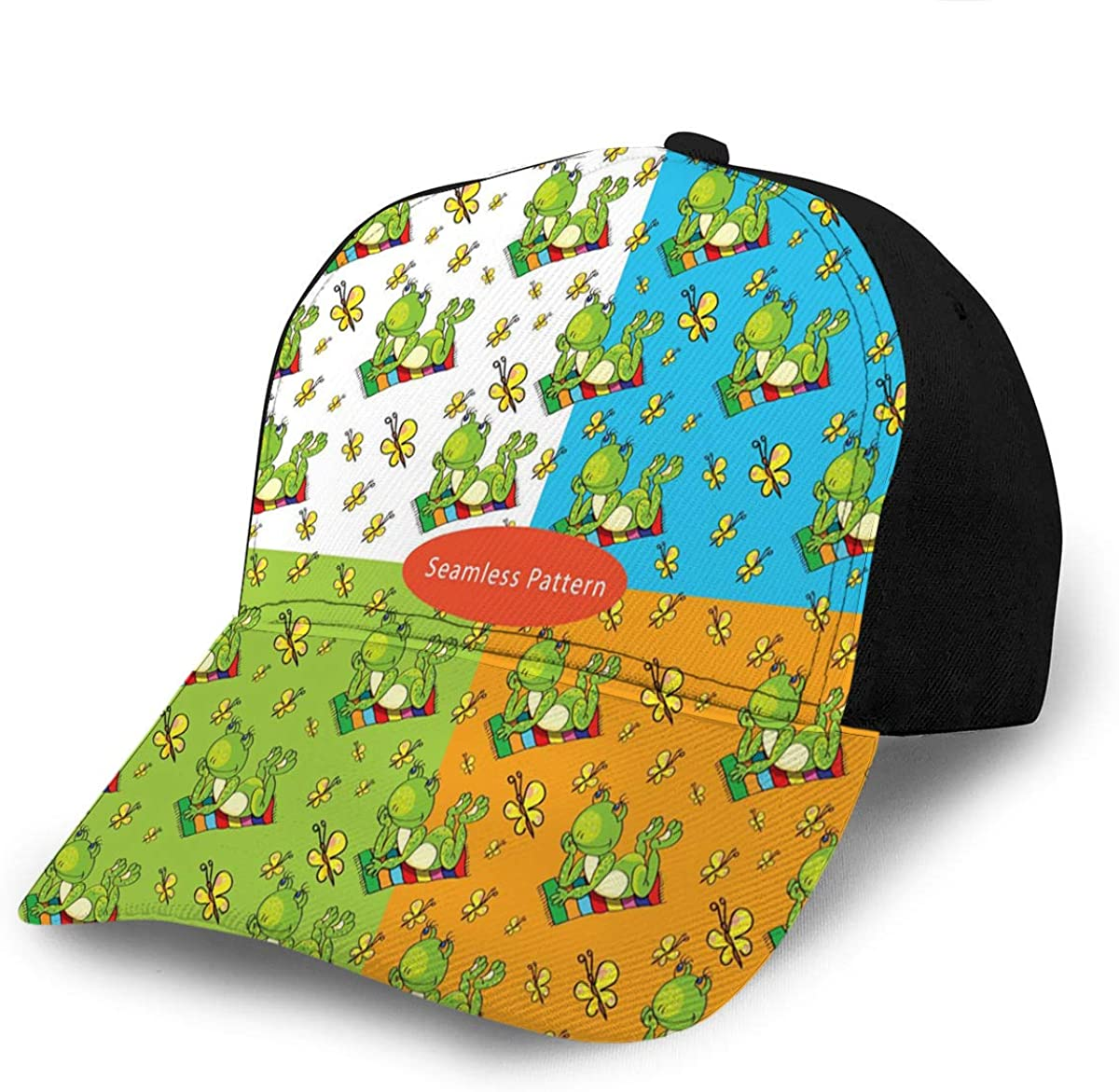 Baseball Caps Hats Patterns with A Green Frog Lies On The Colored Beach Towel Go