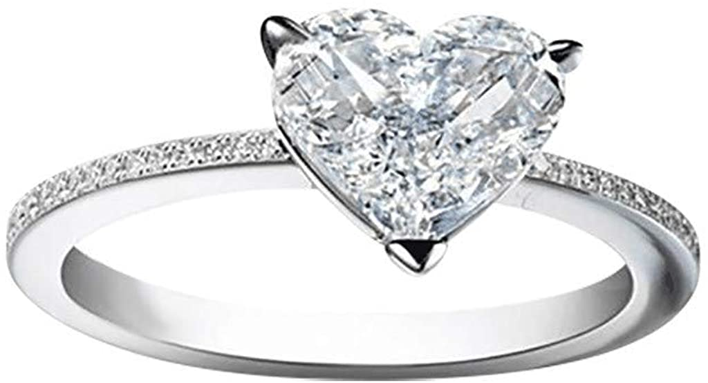 Love Heart Perfect CZ Engagement Rings for Women Cubic Zirconia Promise Halo Engagement Ring Solitaire Engagement Ring