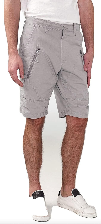 Armani Exchange Aix Utility Zip Short in Light Grey, Size 29