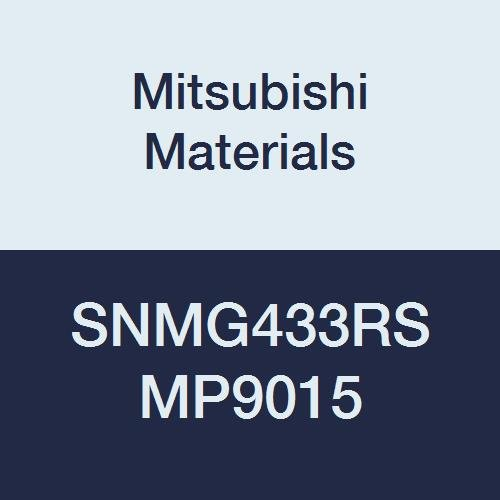 Mitsubishi Materials SNMG433RS MP9015 Carbide SN Type Negative Turning Insert with Hole, Coated, Square, Grade MP9015, 0.5 IC, 0.187 Thick, 0.047 Corner Radius, RS Breaker (Pack of 10)