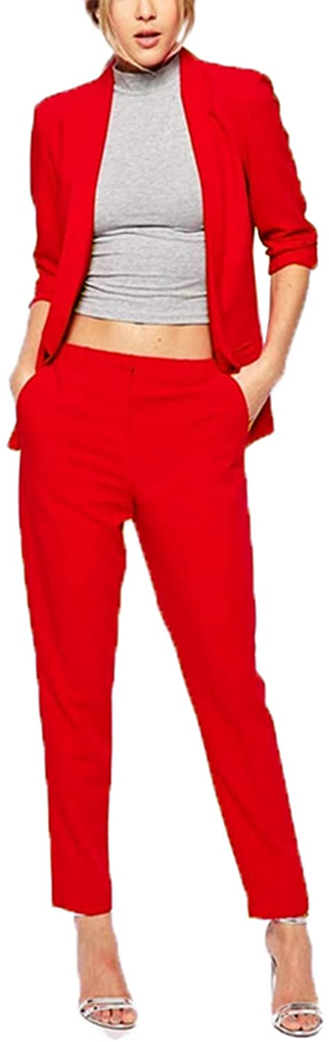 Women's Elegant Suits Two Piece Business OL Coat and Pants Slimming Suit Set Red