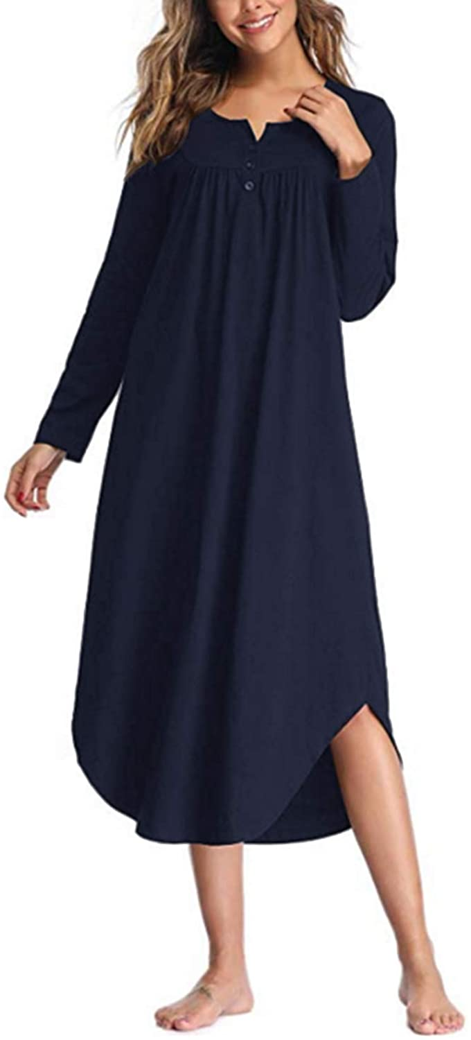 SUNNYME Nightgowns for Women Long Sleeve Sleepshirt Solid Nightdress V-Neck Pleated Sleepwear Dress Curve Hem Loungewear Navy Small