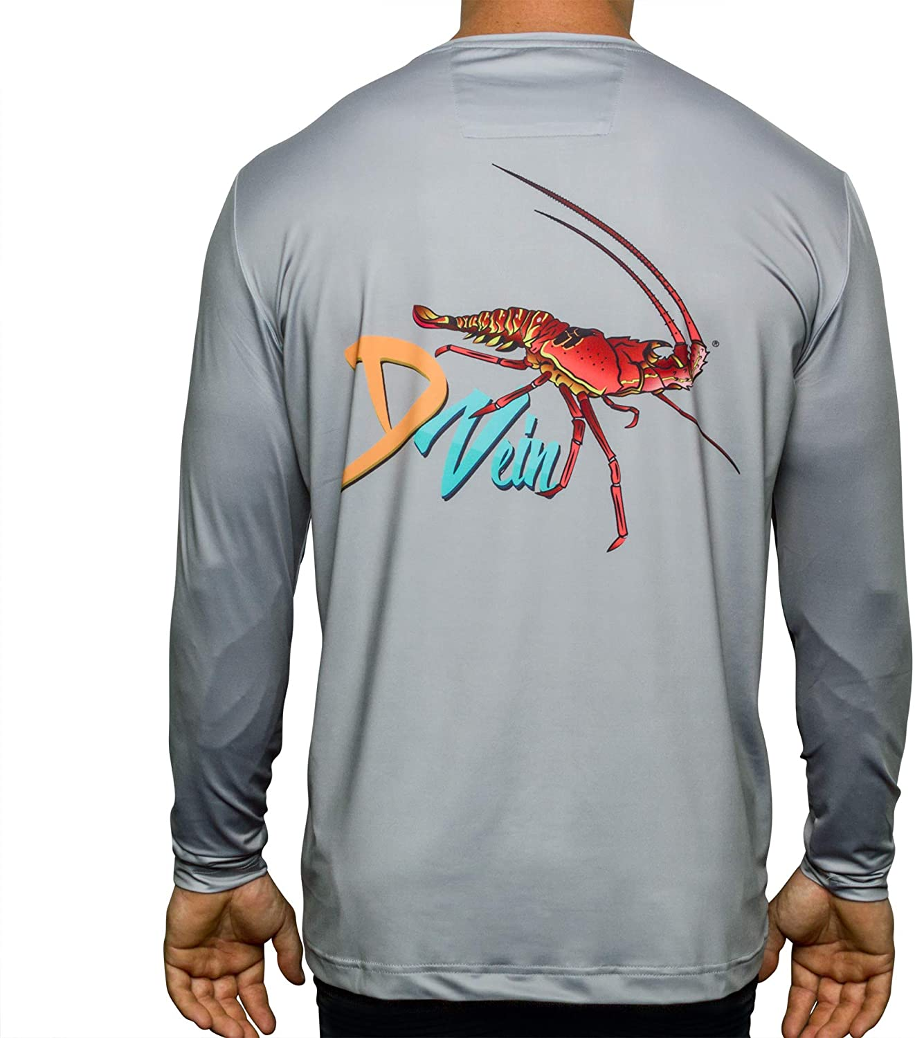 D Vein Men's Fishing Shirts with SPF 50+, Long Sleeve Dry-Fit, White - Lightweight Sun Shirt with Ultraviolet Protection