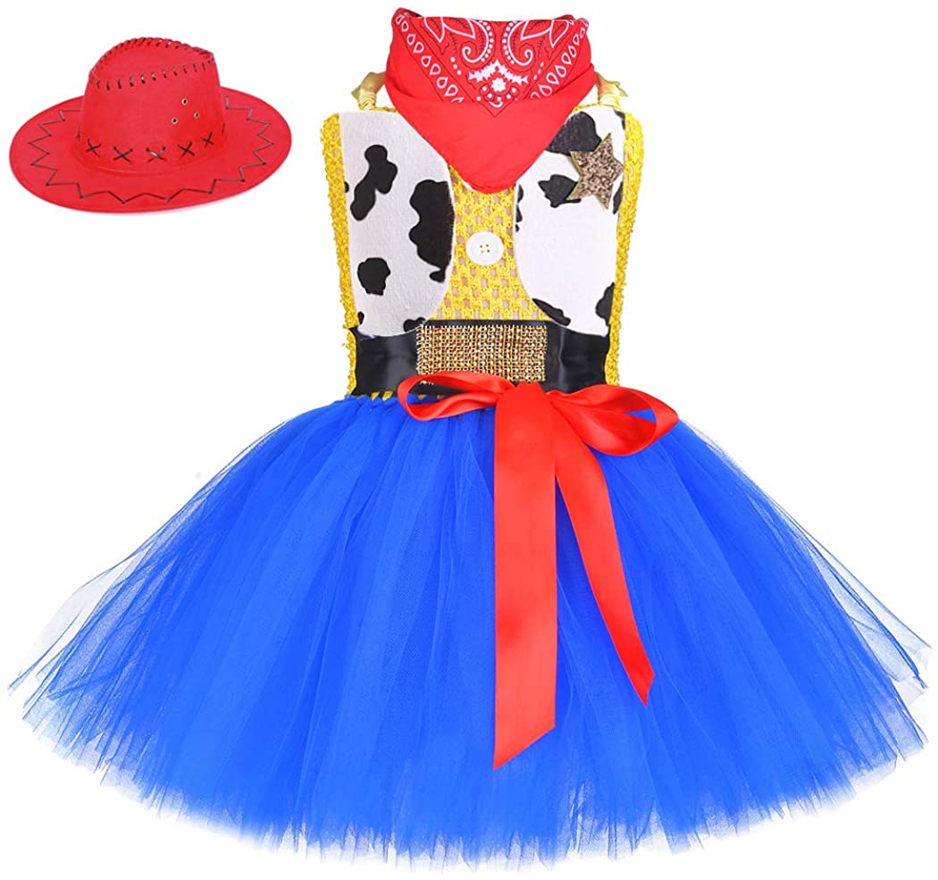 CGlove Cowgirl Costume for Girls with Cowgirl Hat and Bandana Birthday Halloween Party Cute Outfits for Kids 1-12Y