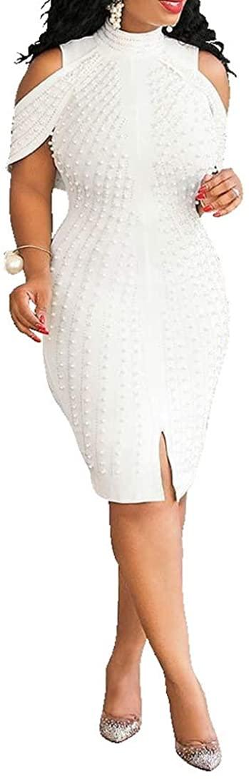 VERWIN Plus Size Knee-Length Bead Sleeveless Turtleneck Women's Bodycon Dress Midi Dress