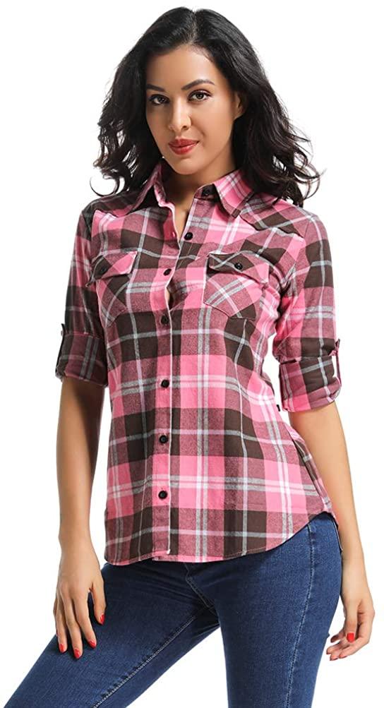 OCHENTA Women's Mid Long Style Roll Up Sleeve Plaid Flannel Shirt M138 XL