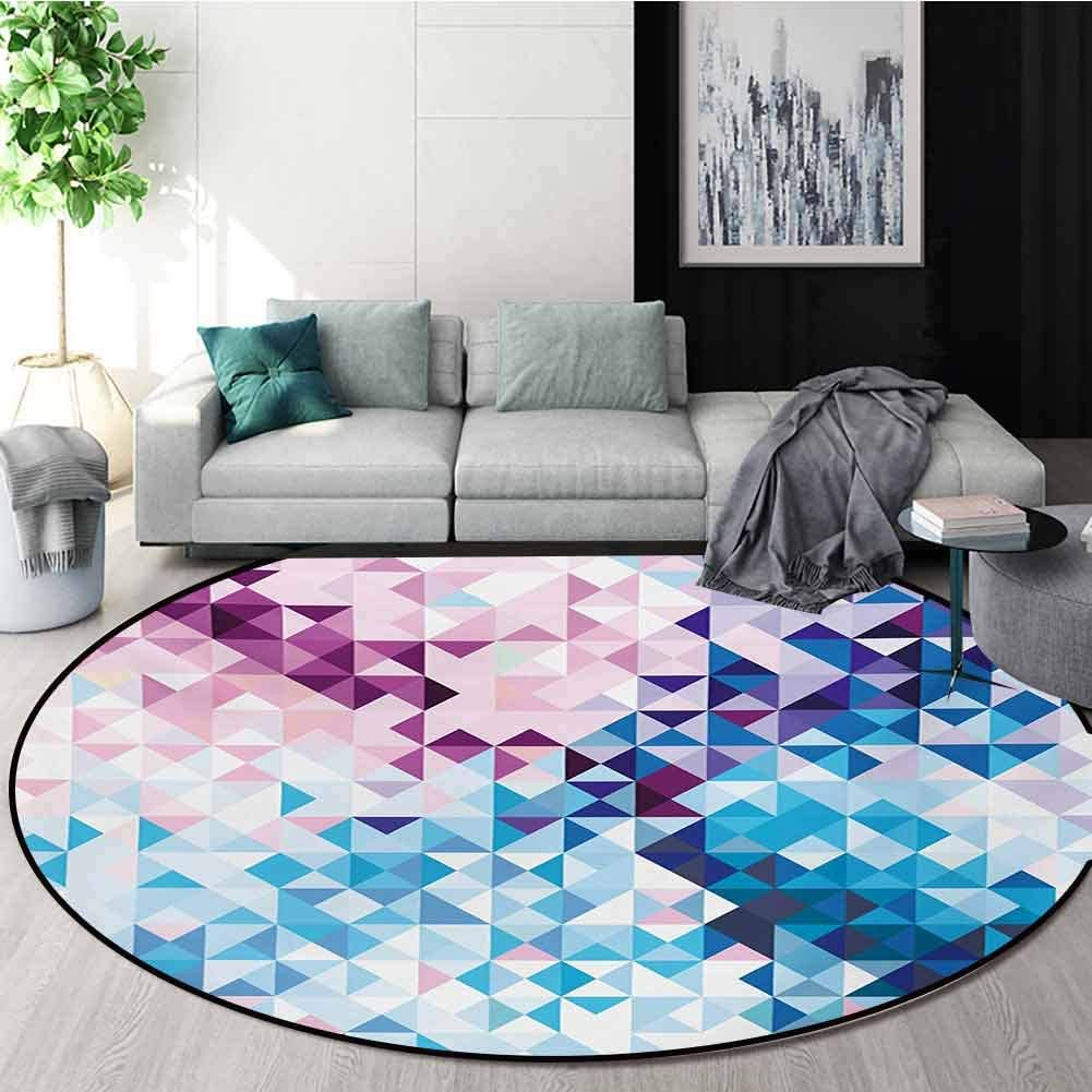 RUGSMAT Digital Modern Washable Round Bath Mat,Abstract Mosaic Digital Ombre Geometrical Colorful Design Art Print Image Non-Slip Bathroom Soft Floor Mat Home Decor,Round-51 Inch Pink Blue and White