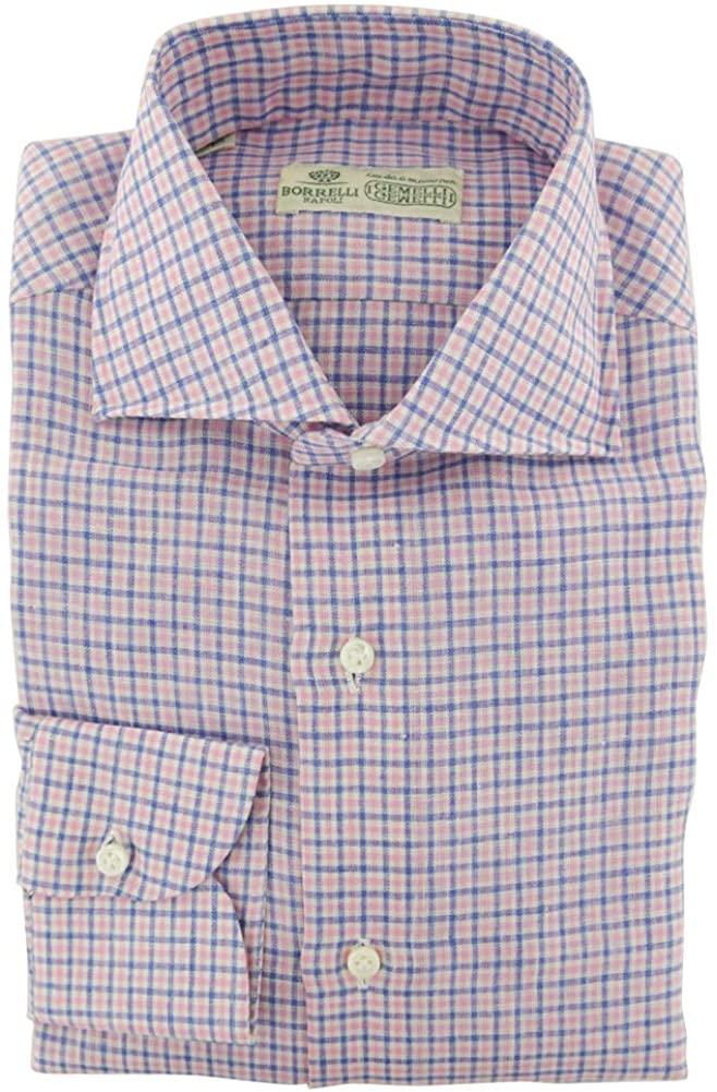 Luigi Borrelli Plaid Pink Wide Spread Collar Linen Button Down Dress Shirt