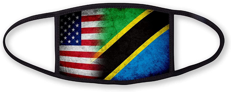 3-Layer reusable/washable Facemask - Flag of Tanzania (Tanzanian) - Rustic with USA Flag