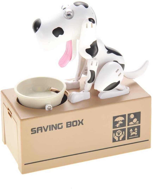 SHOP.R Adorable Robotic Munching, Chomping, Eating Doggie Coin Bank (Black & White)