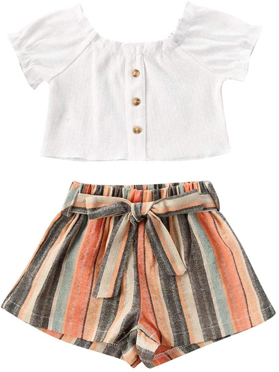 2PCS Newborn Baby Girls Summer Clothes Short Sleeves Button Down Off Shoulder Crop Top Lace up Striped Shorts