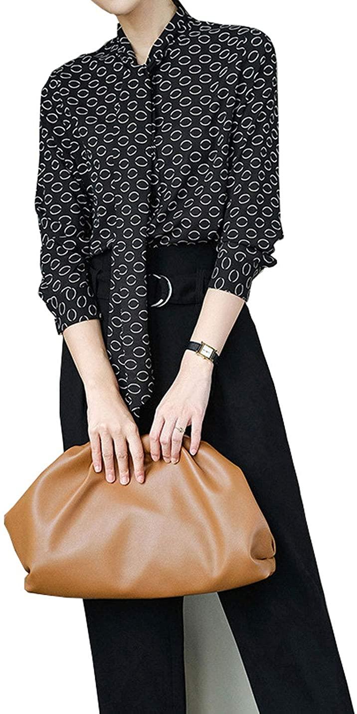 Hongsui Women's Regular Fit Long Sleeve Light Button Print Shirt
