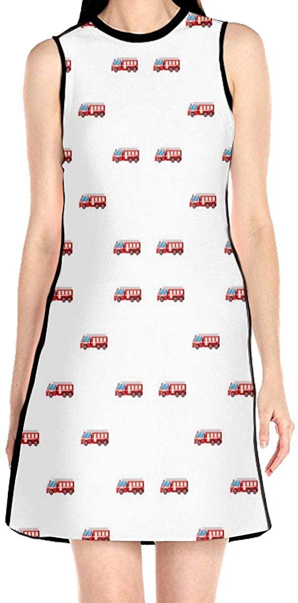 WAYMAY Fire Truck Pattern Dress Sleeveless A-Line Dress Tank Dresses Elegant Dress
