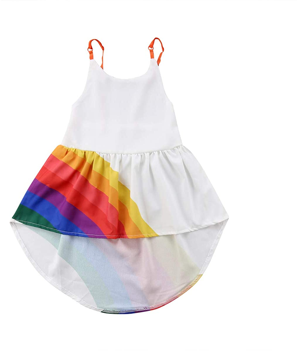 Casual Summer Toddler Kids Baby Girls Sleeveless Suspender Rainbow Beach Princess Party Sundress Dresses