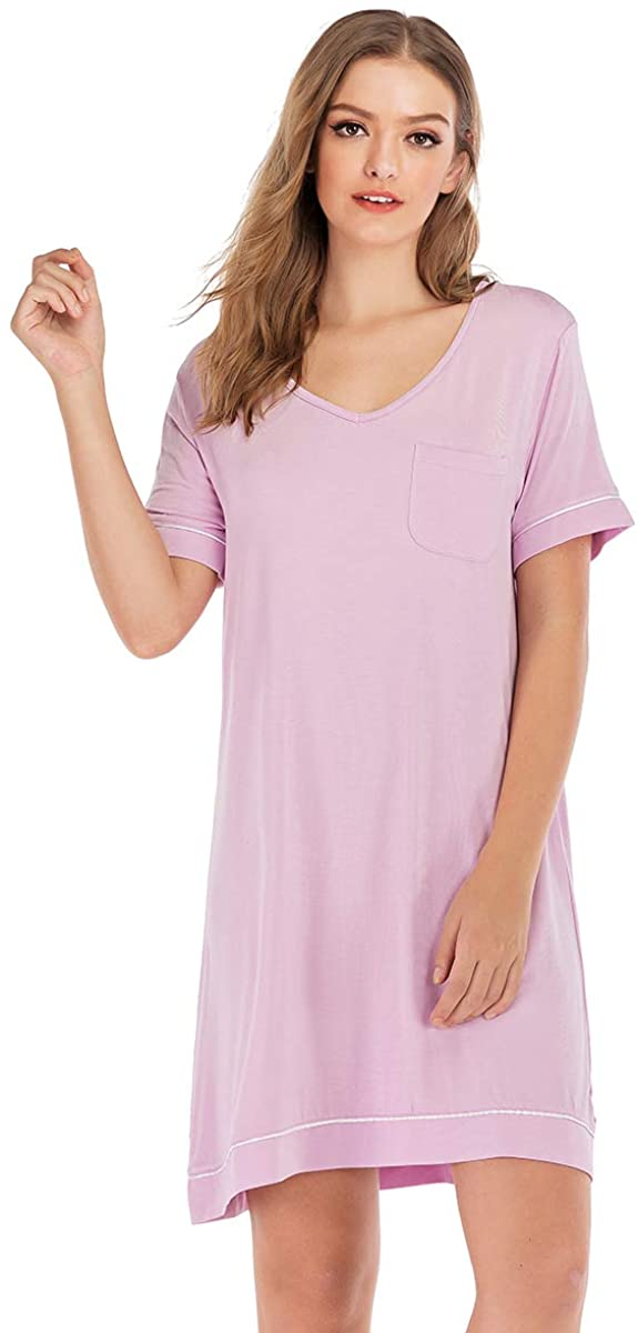Lingerie Lamour Women's Bamboo Viscose V Neck Nightgown with Pocket