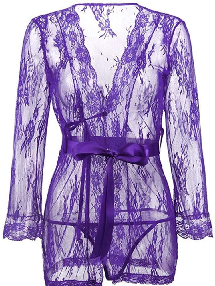 Women's Lace Kimono Robe Babydoll Lingerie Mesh Nightgown G-String