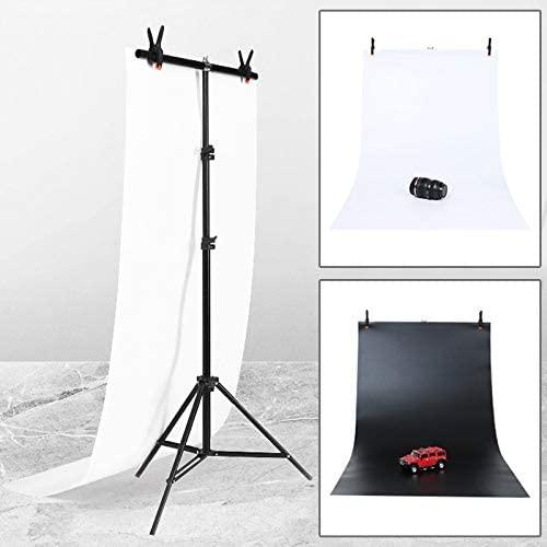 YBLSMSH 70x200cm T-Shape Photo Studio Background Support Stand Backdrop Crossbar Bracket Kit with 70x140cm Black/White Backdrops Q
