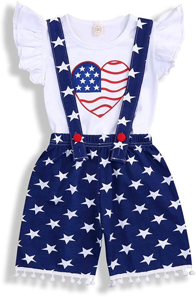 Toddler Baby Girl 4th of July American Flag Ruffle T-Shirt Tops + Stars Suspender Skirt Short Pants 2PCS Overalls Outfit Set