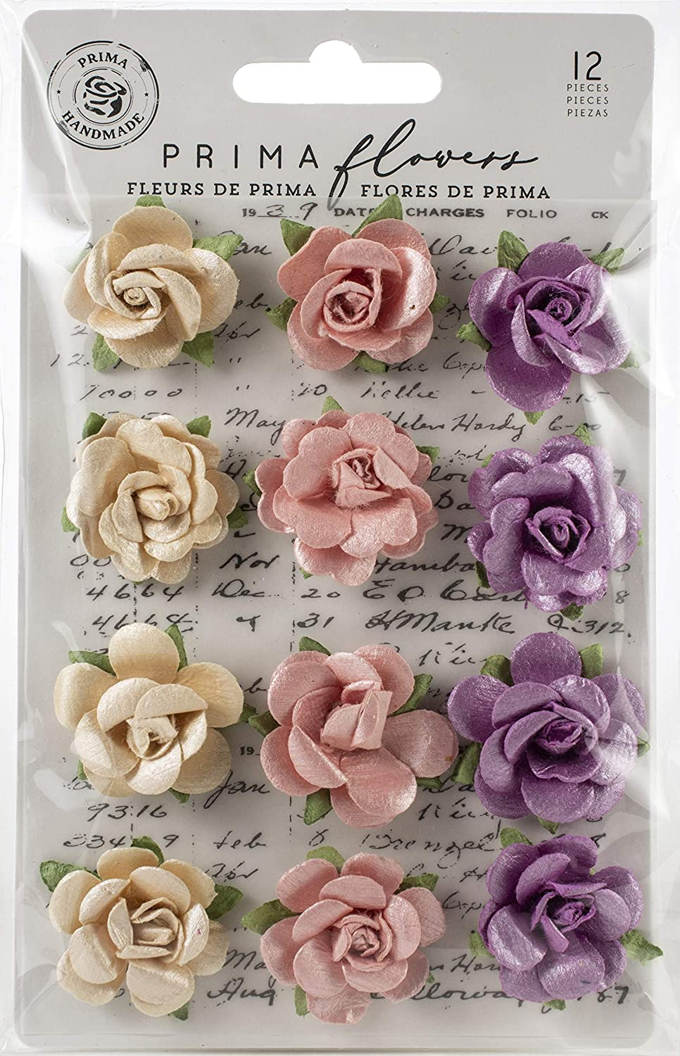 Prima Marketing Moon Child Mulberry Paper Flowers 12/Pkg-Pearlescent Gamma Ray