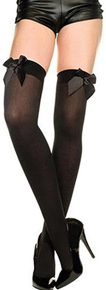 Afco Women's Over The Knee Sexy Socks,Stretch Lace Bow Thigh High Stockings
