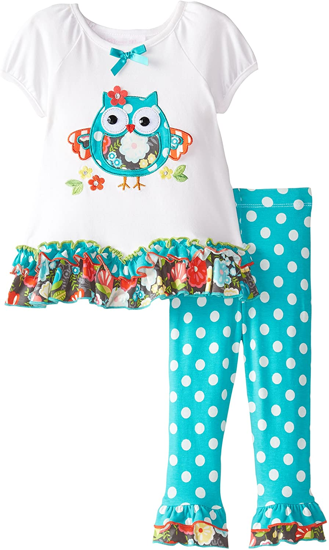 Bonnie Baby Baby Girls' Ruffle Owl Knit Legging Set