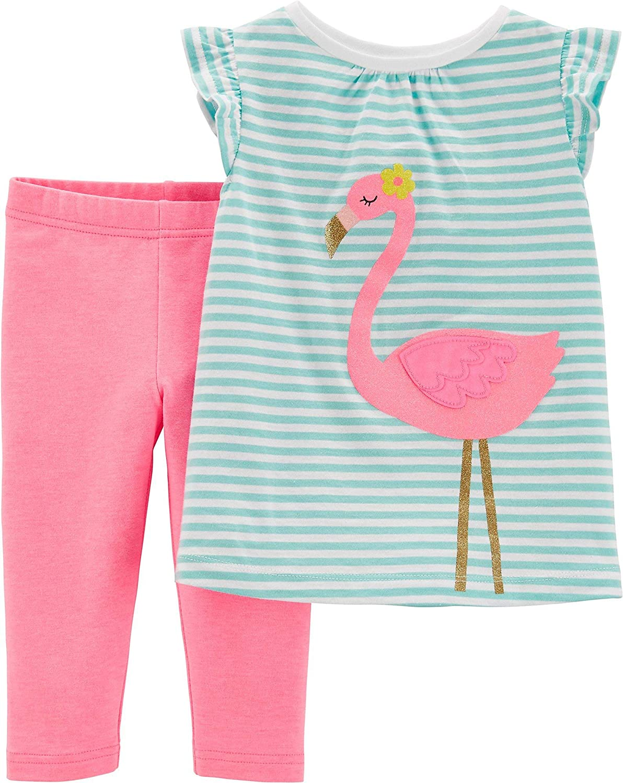 Carters Baby Girls Flamingo Stripes Capri Leggings Set 3 Month Green/Pink/White