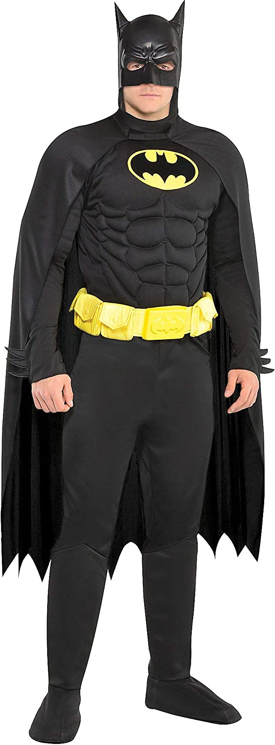 Costumes USA Batman Muscle Halloween Costume for Adults, Standard Size, Includes Padded Jumpsuit and Mask