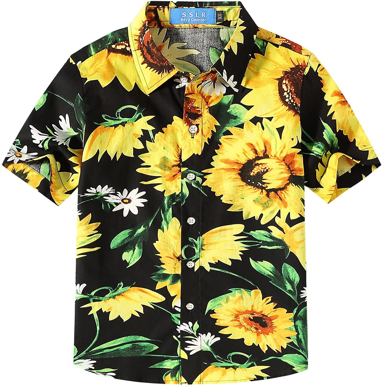 SSLR Big Boy's Sunflowers Button Down Casual Short Sleeve Hawaiian Shirt