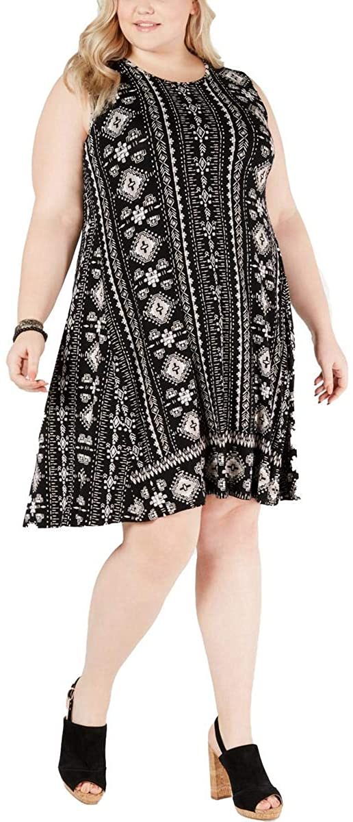 Style & Co. Womens Plus Printed Short Sleeves Shift Dress