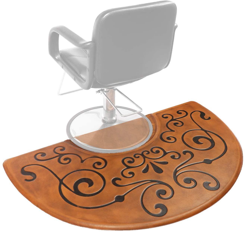 Amcomfy 3 ft. x 5 ft. Anti Fatigue Semi Circle Salon Mat for Hair Stylist Anti-Slip Antique Series Salon & Barber Shop Chair Floor Mat (3' x 5' x 5/8'', Antique Light)