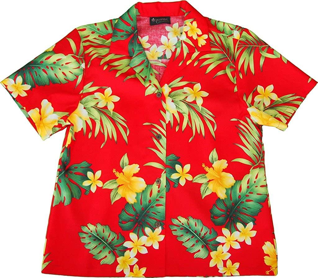 RJC Women's Hibiscus Tropics Hawaiian Camp Shirt