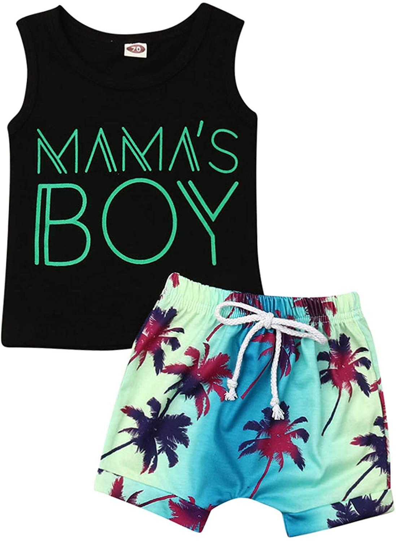 Mama's Boy Sleeveless Vest Tee Tops+Coconut Leaf Print Drawstring Shorts 2Pcs Summer Baby Boys Outfits