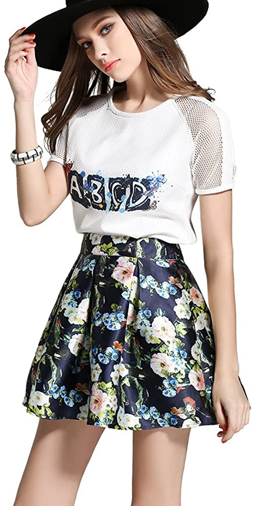 Misseurous Women's Two Piece Set Top Pleated Flower Printing Mini Skirt
