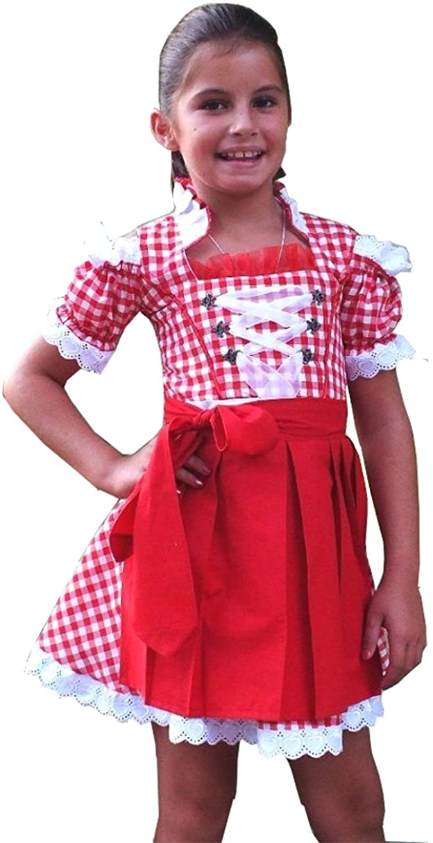 Authentic German Bavarian 2 Piece Children Dirndl Dress for Oktoberfest, Apron, Sizes 2T-12