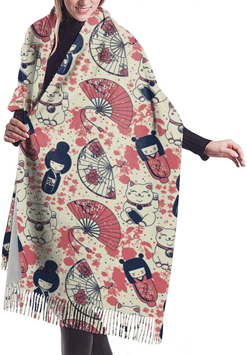Kokeshi Dolls Maneki Cat Women's Winter Warm Scarf Fashion Long Large Soft Cashmere Shawl Wrap Scarves