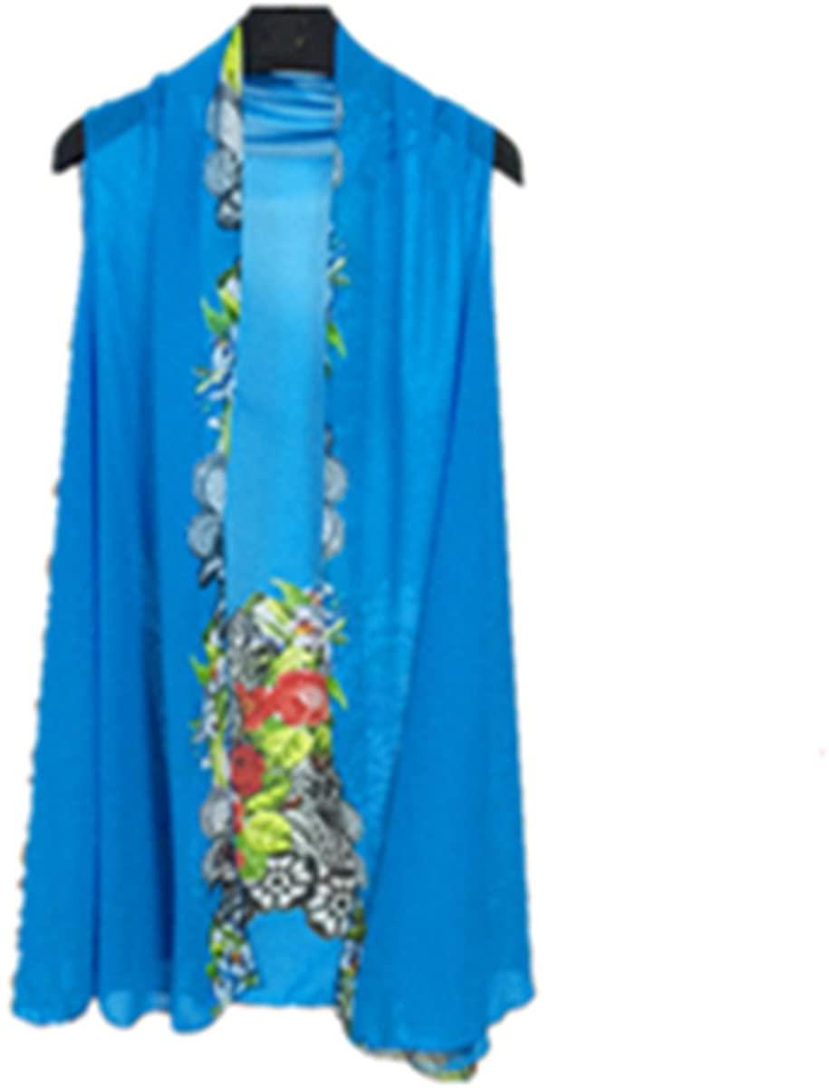 E-Papaya Women's Solid/Printed Sleeveless Chiffon Cardigan Cover-up Scarf wrap