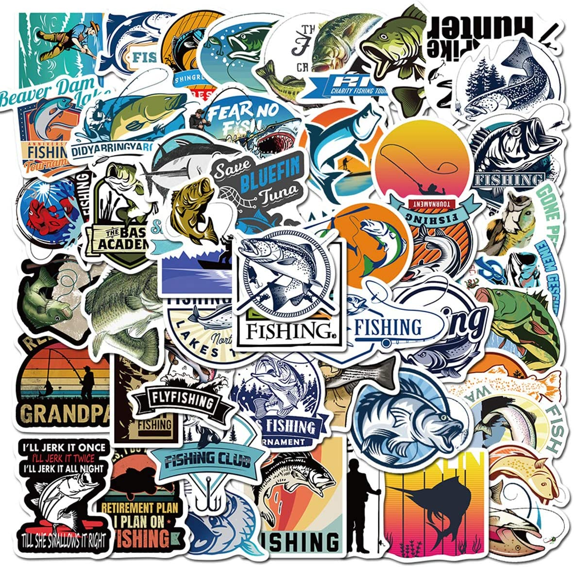 Go Fishing Stickers Many Kinds of Fly Fish Stickers 50Pcs Variety Vinyl Car Sticker Water Bottle Skateboard Motorcycle Phone Bicycle Luggage Guitar Bike Sticker Decal
