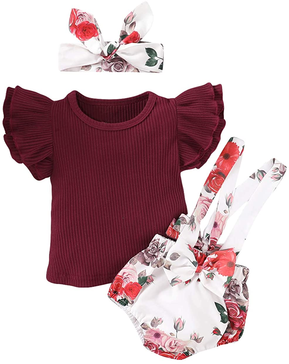 MTSLYH Infant Baby Girl Ruffle Ribbed Shirt+Floral Bowtie Suspender Shorts+Headband Outfit Set