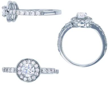 Sterling Silver Rhodium 5mm Round CZ Micropave Halo Engagement Ring