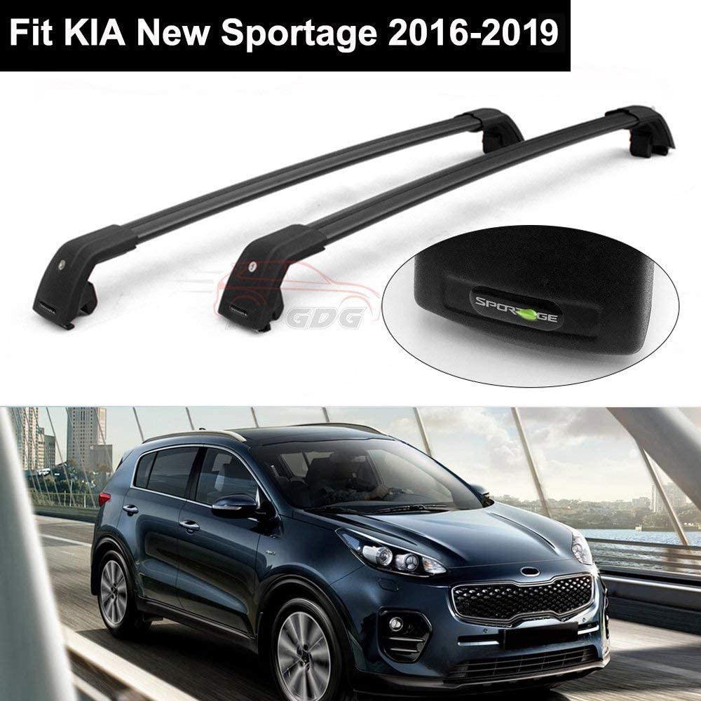 2Pcs Lockable Roof Rack Crossbars Cross Bar Fit for KIA New Sportage 2016 2017 2018 2019 Baggage Luggage Rail Black