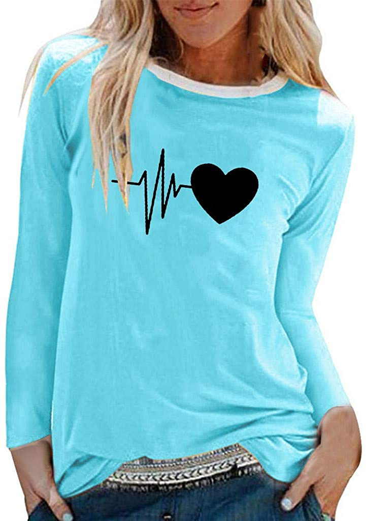 VEZARON Womens Heartbeat Pullover Tops O-Neck Shirt Solid Blouse Casual Loose Sweatshirt