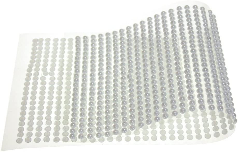 Homeford Plastic Pearls Flat Bead Self Adhesive Stickers, 4mm, 46-Strips (White)
