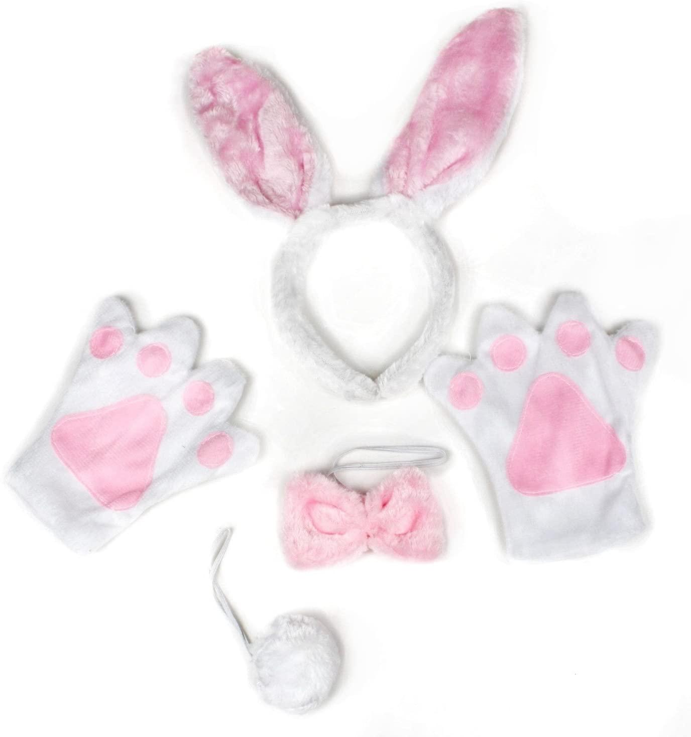 Petitebella White Pink Bunny Headband Bowtie Tail Glove Children 4pc Costume